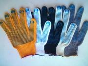 Рабочие,  трикотажные х/б перчатки с ПВХ покрытием (точка,  волна,  прот