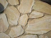 Камень пластушка песчаник Бело-жёлтый с разводами